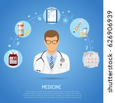 medical concept with flat icons ... | Shutterstock .eps vector #626906939
