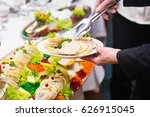 serving fish in aspic  festive... | Shutterstock . vector #626915045