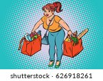 young woman with grocery...   Shutterstock .eps vector #626918261
