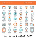 vector set of power and energy... | Shutterstock .eps vector #626918675