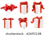 a white boxs tied with a red... | Shutterstock . vector #62692138