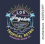retro style summer tee print... | Shutterstock .eps vector #626921597