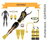 scuba diving vector equipment.... | Shutterstock .eps vector #626950424