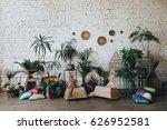 on a wooden floor in a loft... | Shutterstock . vector #626952581