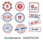 set of various 40th anniversary ...   Shutterstock .eps vector #626953154