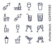 champagne icons set. set of 16... | Shutterstock .eps vector #626954585