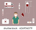 surgeon surrounded with a... | Shutterstock .eps vector #626956379