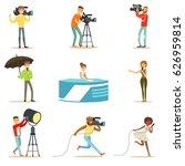 news program crew of... | Shutterstock .eps vector #626959814