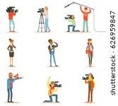 news program crew of... | Shutterstock .eps vector #626959847