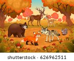 funny animals in the wood.... | Shutterstock .eps vector #626962511