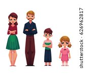 family of four  father  mother  ... | Shutterstock .eps vector #626962817