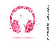 Stock vector vector headphone of pink rose petals music icon 626968217
