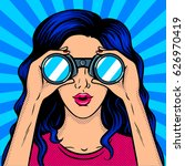 woman looks through binocular... | Shutterstock .eps vector #626970419