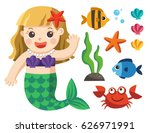 set of under the sea collection.... | Shutterstock .eps vector #626971991