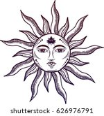 Beautiful Sun Face Symbol With...