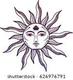 Beautiful Sun Face Symbol With...