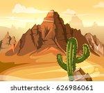 desert hills  cactus near big... | Shutterstock .eps vector #626986061