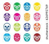 lucha libre  luchador icons ... | Shutterstock .eps vector #626992769