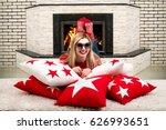beautiful young blonde woman... | Shutterstock . vector #626993651