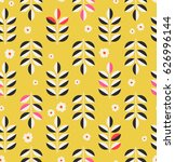 seamless pattern with leaves... | Shutterstock .eps vector #626996144