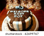 Welcome Baby Boy cake for new born celebrations (baby shower) - stock photo