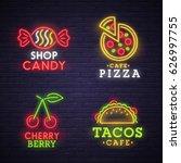 set neon sign. bright signboard ... | Shutterstock .eps vector #626997755