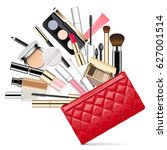 vector makeup bag | Shutterstock .eps vector #627001514