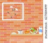 breakfast concept. clock in... | Shutterstock .eps vector #627004499
