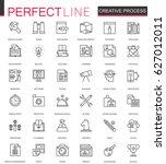 creative process thin line web... | Shutterstock .eps vector #627012011