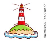 funny and cute lighthouse in a... | Shutterstock .eps vector #627013577