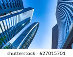 high rise buildings and blue... | Shutterstock . vector #627015701