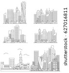set vector line city... | Shutterstock .eps vector #627016811