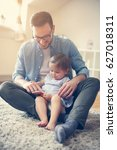 single father wit his daughter... | Shutterstock . vector #627018311