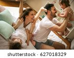 family spending free time at... | Shutterstock . vector #627018329
