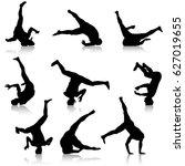 set black silhouettes... | Shutterstock .eps vector #627019655