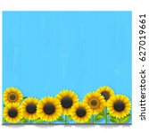 vector blue wooden board with... | Shutterstock .eps vector #627019661