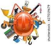 vector road construction... | Shutterstock .eps vector #627019679