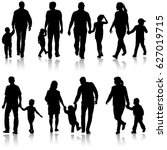 set silhouette of happy family... | Shutterstock .eps vector #627019715