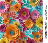 Stock photo  d render digital illustration colorful paper flowers wallpaper spring summer background floral 627025967