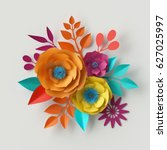 Stock photo  d render digital illustration colorful paper flowers wallpaper spring summer background floral 627025997