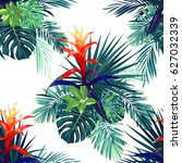 hand drawn seamless tropical... | Shutterstock . vector #627032339