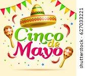 cinco de mayo lettering... | Shutterstock .eps vector #627033221