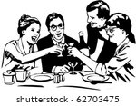 vector picture dining with wine ... | Shutterstock .eps vector #62703475