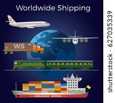 worldwide shipping concept... | Shutterstock .eps vector #627035339