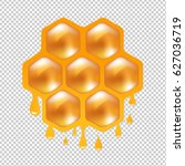 honeycombs with transparent... | Shutterstock .eps vector #627036719