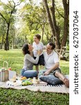 family picnic happiness... | Shutterstock . vector #627037064