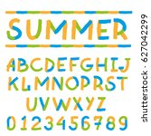 colorful handwriting font and... | Shutterstock .eps vector #627042299