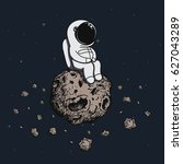 astronaut travel on asteroid in ... | Shutterstock .eps vector #627043289
