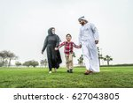 arabic family playing with child | Shutterstock . vector #627043805