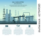 vector oil rig industry of... | Shutterstock .eps vector #627049385